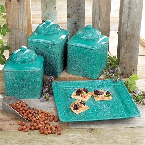 turquoise kitchen canister set and platter