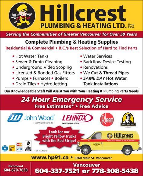 Plumbing Supply Vancouver Wa by Hillcrest Plumbing Heating 3260 St Vancouver Bc