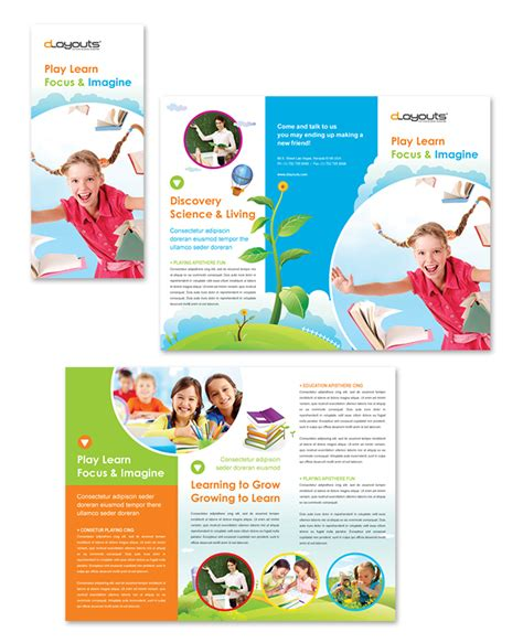 child education center tri fold brochure template http