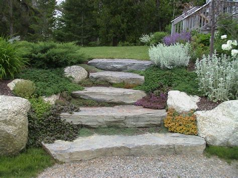 steps in hillside private residence natural stone