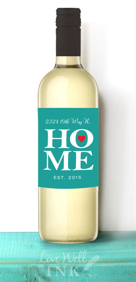 welcome home custom wine labels house warming new home gift