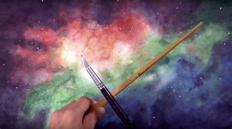 watercolor nebula tutorial galaxy of nebula stars fun abstract painting idea