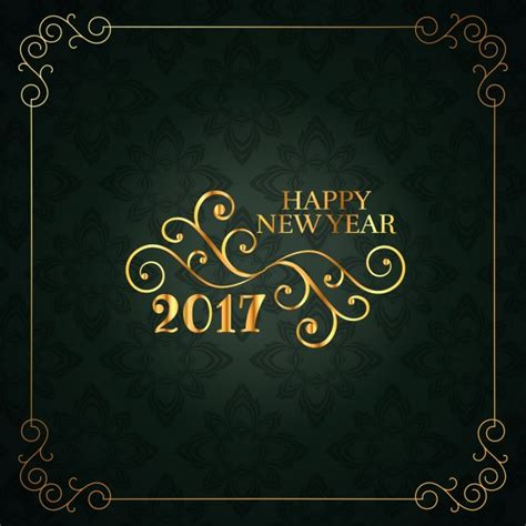 happy new year floral card in vintage style vector free