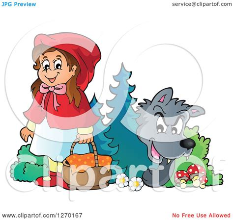 clipart of a big bad wolf watching little red riding hood