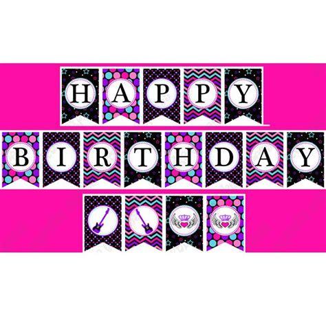 happy birthday banner diy printable rockstar printable happy birthday banner parties