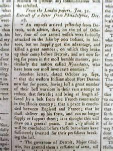 Pontiac Michigan Newspaper 1764 Colonial America Era Newspaper Pontiac Indian War
