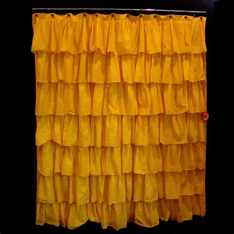yellow bathroom curtains yellow ruffle shower curtain soozone