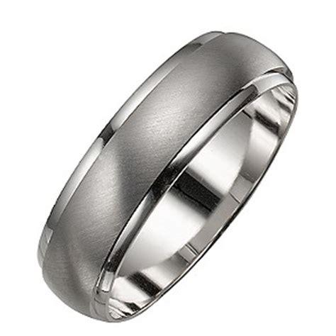 s 9ct white gold satin and polished ring h samuel