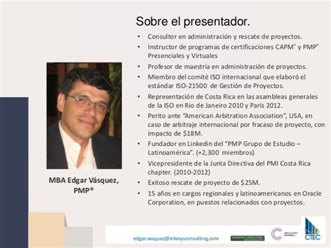 Of Connecticut Mini Mba by Administraci 243 N Efectiva De Proyectos Edgar Vasquez Pmp