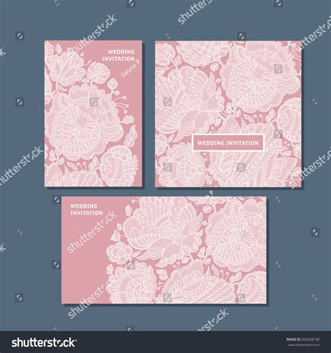 decorative printable postcards rosy color decorative greeting cards set stock vector
