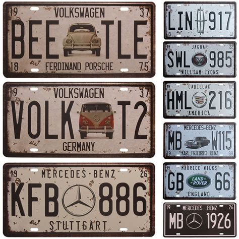vw bee tle car license plate vintage home decor tin sign