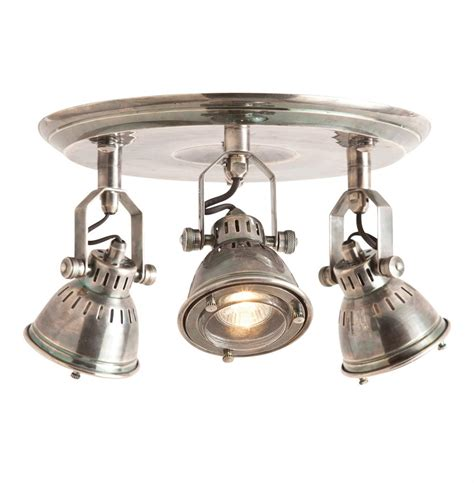Flush Light Fixtures Trace Industrial Modern 3 Light Vintage Silver Flush Mount Fixture Kathy Kuo Home