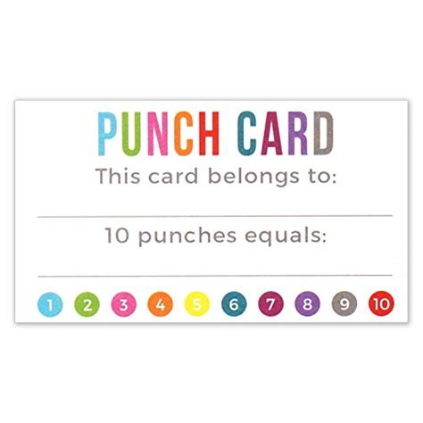 Punch Card Template Office punch card incentive loyalty reward cards business