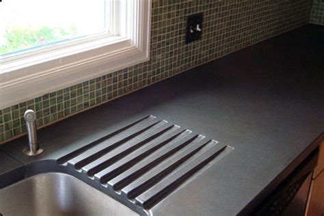 concrete countertop with integrated charcoal concrete countertop with integrated drainboard