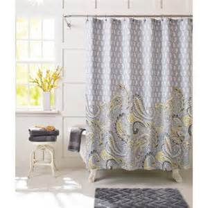 Paisley Shower Curtains Better Homes And Gardens Yellow Paisley Fabric Shower Curtain Walmart