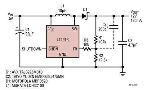boost converter output capacitor design solutions lt1613 5v to 12v boost converter