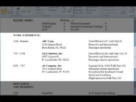 how to write resume for pilot