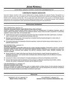 Financial Services Associate Sle Resume by Exle Finance Associate Resume Free Sle