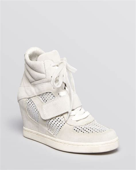 cool white sneakers lyst ash lace up wedge sneakers cool mesh in white