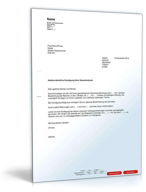 Fristlose Kündigung Mietvertrag Vermieter by K 252 Ndigung Gewerbemietvertrag Fristlos Vermieter