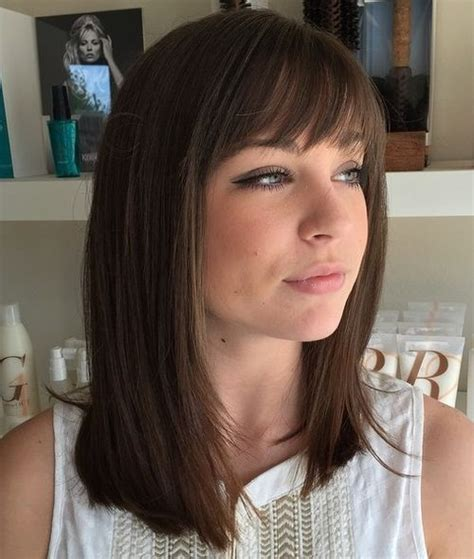 medium straight hairstyles with bangs 40 best medium straight hairstyles and haircuts stylish