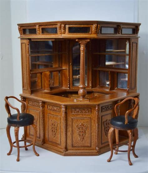 famous doll houses dollhouse miniature famous furniture 2700 walnut finish victorian bar stools ebay
