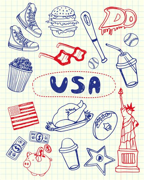 pen doodles vector usa symbols pen doodles vector collection stock