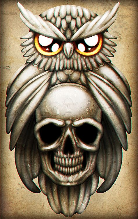owl skull tattoo how to draw an owl and skull step by step tattoos