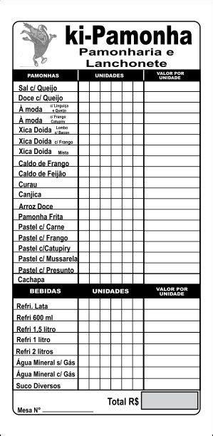 Comandas Bares - Restaurantes - Lanchonetes 500 Unidades