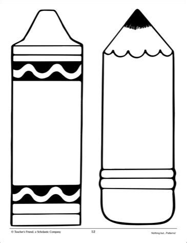 Printable Crayon Template Crayon And Pencil Large Pattern Scholastic Printables Classroom Themes Pinterest
