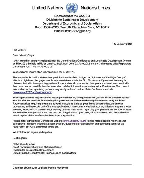 Reference Letter United Nations education charter international info