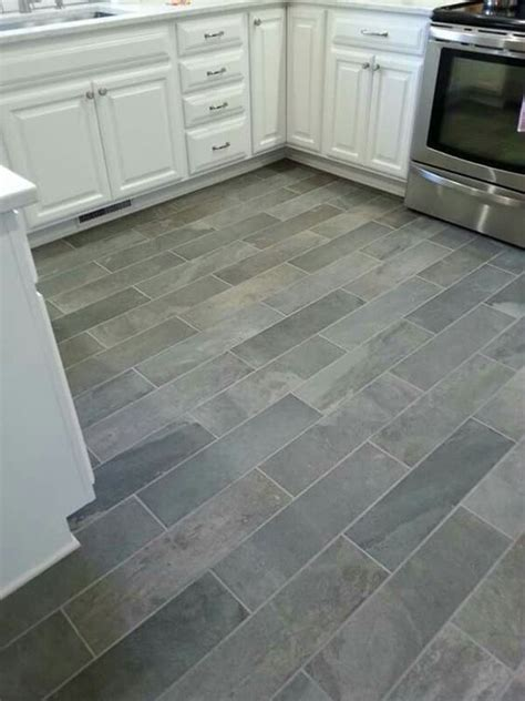 tiled kitchen floors ideas ivetta black slate porcelain tile from lowes things i ve
