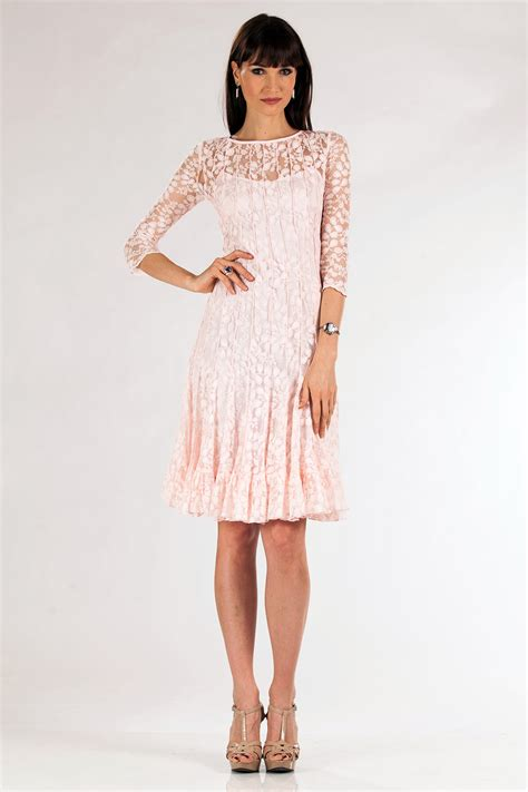 blush color dresses blush lace dress with sleeves hairstyle for