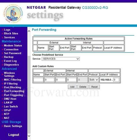 netgear forwarding how to open a on the netgear cg3000dv2