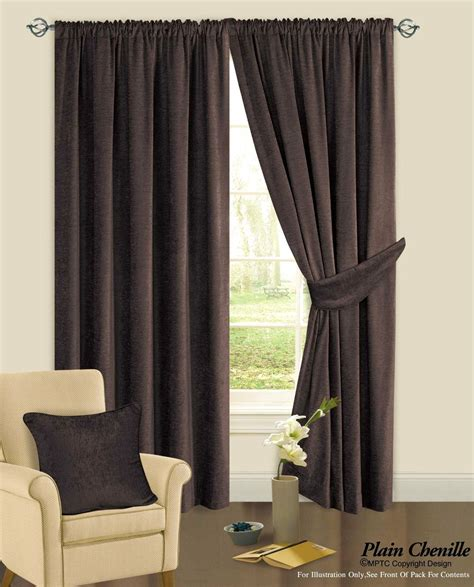 chenille curtains chocolate brown colour plain chenille fabric pencil pleat