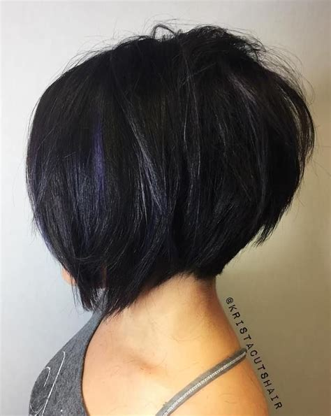 dark hair with graduated layers 100 mind blowing short hairstyles for fine hair choppy