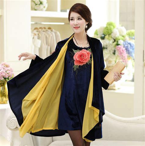 Tipsy Set Dress Pasmina two set dress middle age embroidery velvet poncho shawl big size