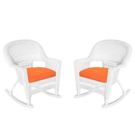 Orange Rocking Chair Cushions by Jeco Rocker Wicker Chair In White With Orange Cushion Set