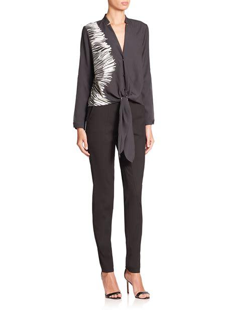 Black Silk Tie Front Blouse by Lyst Tie Front Silk Blouse In Black