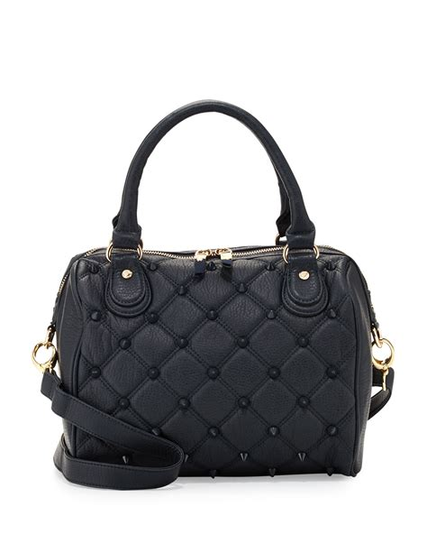 deux empress stud quilted fauxleather duffle bag in