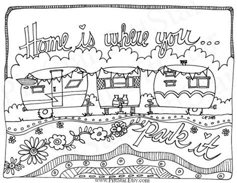 coloring pages for adults travel instant download whimsical travel trailers home is where