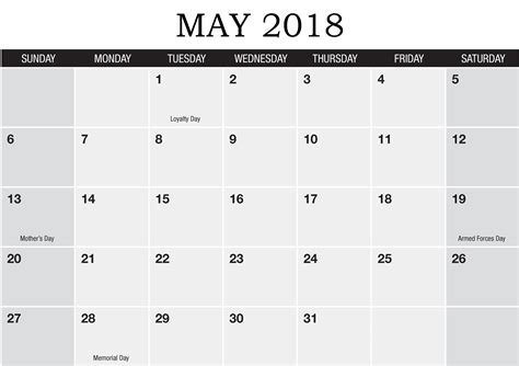 may template may 2018 blank templates calendar 2018
