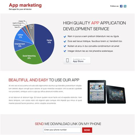 design business application app landing page design templates exle to boost sale of