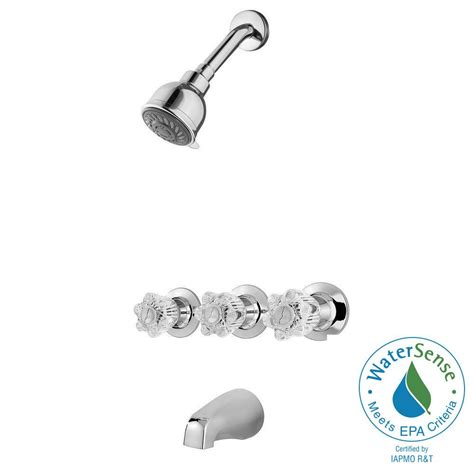 3 Handle Tub And Shower Faucets by Pfister Bedford 3 Handle Tub And Shower Faucet In Polished