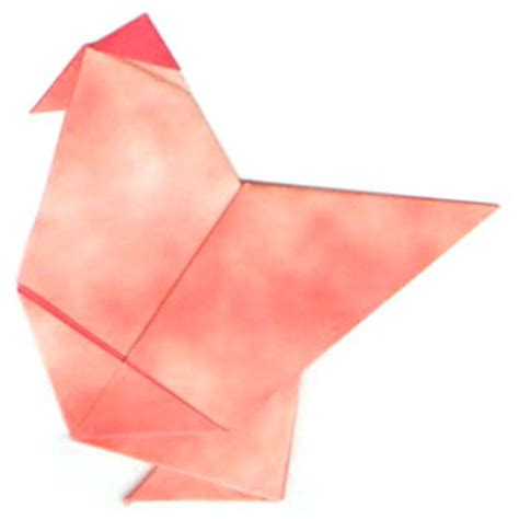 Origami Hen - how to make a traditional origami hen page 9