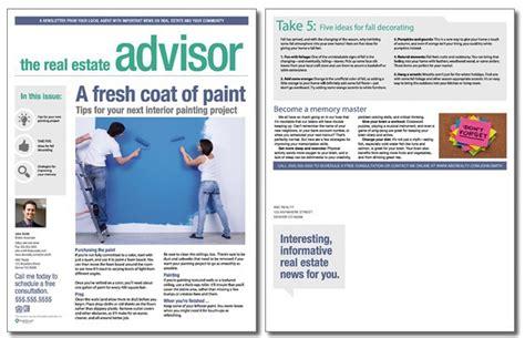 real estate newsletter templates real estate advisor newsletter template volume 2 issue 9