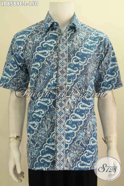 Pakaian Cowok Trenndy Hem Lengan Pendek Trendy hem batik parang warna biru dengan desain trendy dan