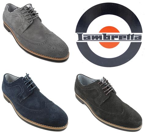 mens lambretta suede leather lace up brogues shoes grey