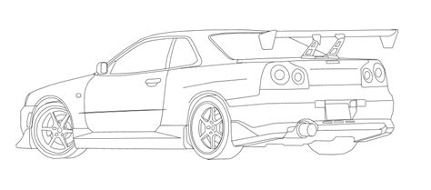nissan skyline drawing outline nissan skyline gtr r34 free coloring pages