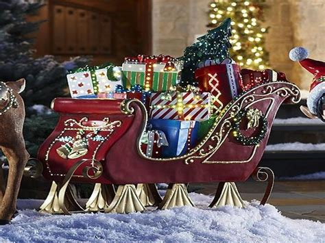 santa sleigh and reindeer outdoor decoration walmart